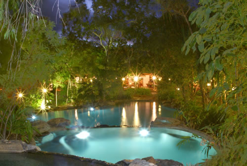Thala Beach Lodge's Pool At Night