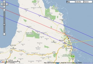 The Path of the Total Solar Eclipse 2012 over North Australia.