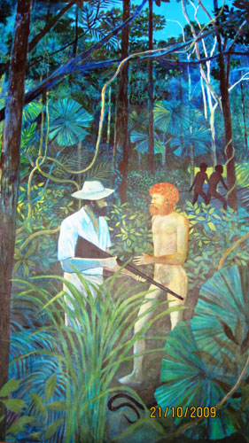 This painting by Ray Crooke illustrates an interesting moment in the exploration for far North Queensland.