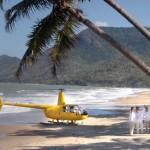 Helicopter landing on Oak Beach