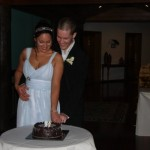 Cutting the wedding cake at Thala